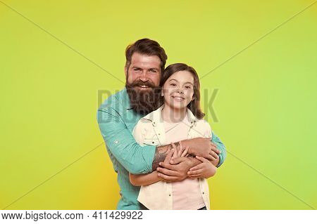 Proud Father. Happy Father Hug Little Daughter. Little Girl And Father. Adoption Of Child. Adoptive