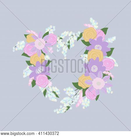 Pink And Purple Clematis Flowers, Pink And Yellow Roses And Inflorescences Of White And Pink Small F