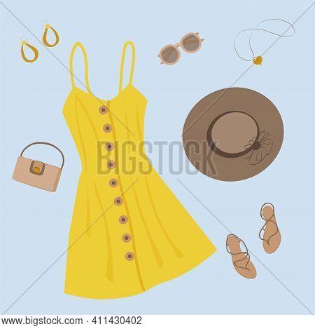 A Set Of Summer Clothes Made From A Yellow Button-down Sundress, A Dark Woven Sun Hat, Sunglasses, B