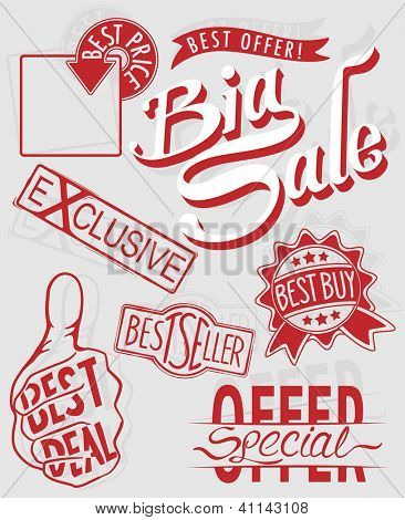 Collection of retail sale sign in vector illustration