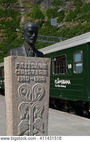 Station old Flam Railway. The Flamsbana is a 20.2-kilometer long railway line between Myrdal and Flam in Aurland, June 17,2018. Flam, Norway, Scandinavia.