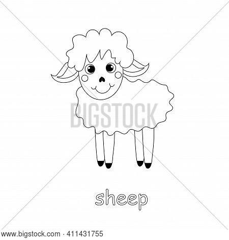 Sheep Cartoon Monochrome Sketch Art Design Element Farm Animal Stock Vector Illustration For Web, Fo