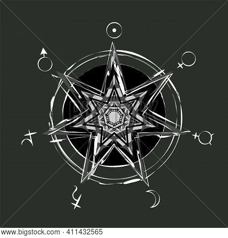 Monochrome Occult Heptagram With Astrology Planetary Symbols In Double Circle