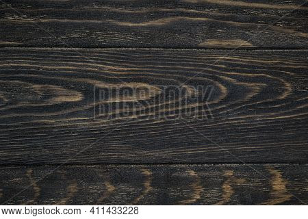 Wood Texture Background, Top View Of Dark Rough Wooden Table. Rustic Brown Wood Planks For Backdrop
