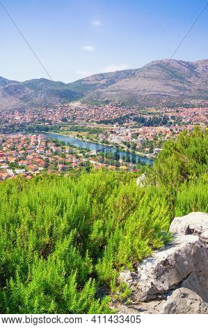 Sunny Summer Landscape. Bosnia And Herzegovina, Republika Srpska. View Of Ancient City Of Trebinje F