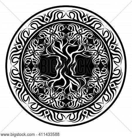Yggdrasil, Tribal Viking Tree Of Life, In Ornamental Tribal Round Frame