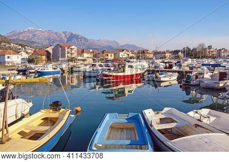 Beautiful Mediterranean Landscape. Fishing Boats In Harbor. Montenegro,  Kotor Bay, Tivat City, View