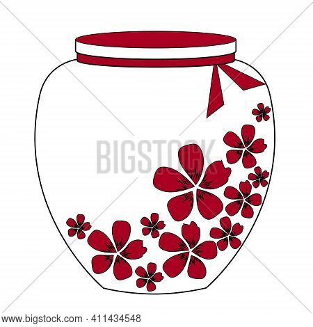 Bottle With A Red Beautiful Flowers. Game Icon Of Magic Elixir. Vector Design For User Interface