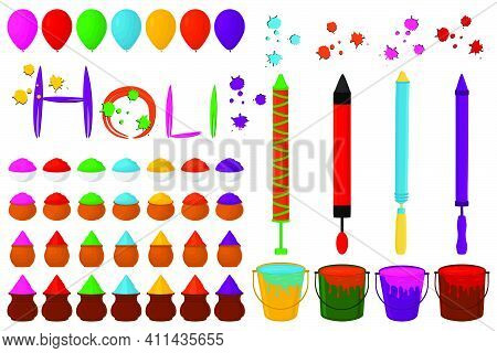 Illustration Theme Big Set Different Types Colorful Bowls With Bright Powder Holi. Bowls Pattern Con