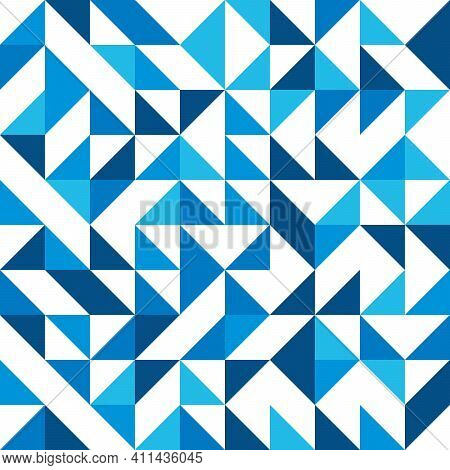 Abstract Mosaic Of Right Triangles. Blue Right Triangles Scattered On White Background. Abstract Sea