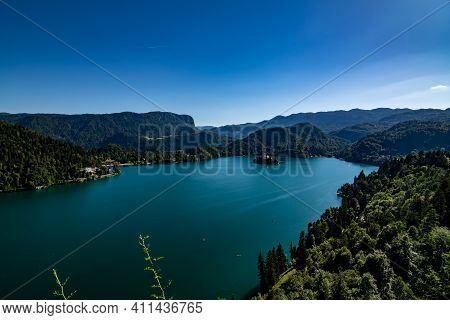 Aerial View Of Lake Bled With Island Church From Bled Castle, Slovenia