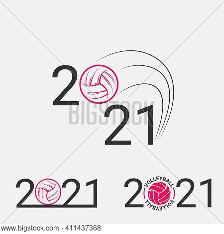 Volleyball Sign 2021. Set Volleyball Logo For A Volleyball Event.