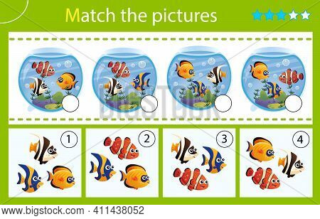 Matching Game, Education Game For Children. Puzzle For Kids. Match By Elements. Aquarium Fishes. Clo