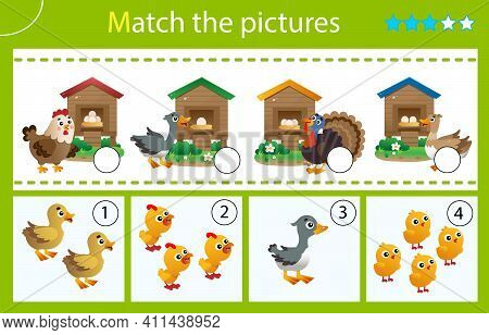 Matching Game, Education Game For Children. Puzzle For Kids. Which House Are The Nestlings From? Egg