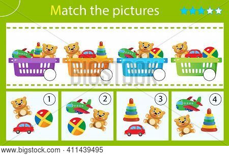 Matching Game, Education Game For Children. Puzzle For Kids. Match By Elements. Baskets With Toys. W