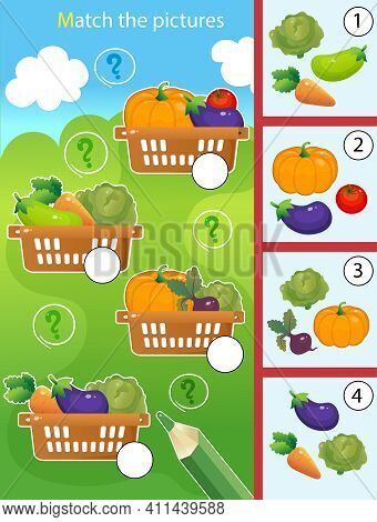 Matching Game, Education Game For Children. Puzzle For Kids. Match By Elements. Baskets Of Vegetable