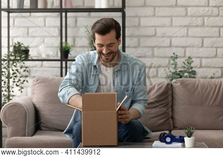 Curious Guy Online Shopper Get Order From Store By Mail