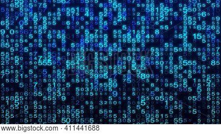 Digital Background Blue Matrix. Matrix Background. Binary Computer Code. Hacker Coding Concept. 3D R