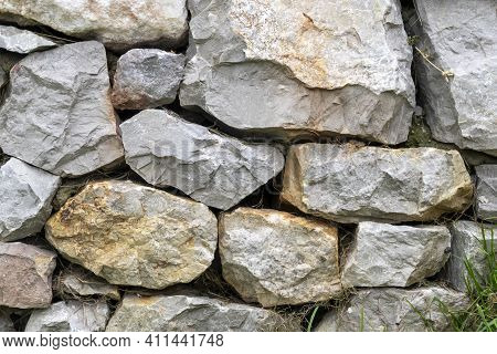 Stone Wall With Stacked Natural Stones