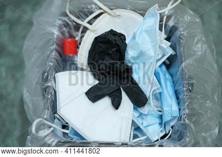 Separate Garbage Bin Full Of Used Protective Face Mask And Gloves, Covid19 Medical Disposal Waste