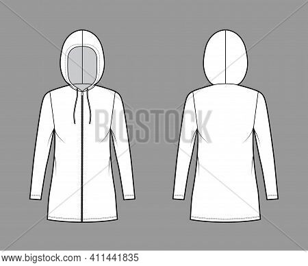 Zip-up Hoody Dress Technical Fashion Illustration With Long Sleeves, Mini Length, Oversized Body, Pe