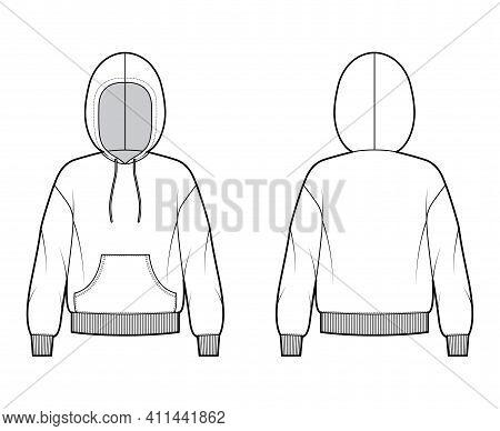 Hoody Sweatshirt Technical Fashion Illustration With Long Sleeves, Oversized Body, Kangaroo Pouch, K