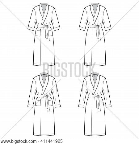 Set Of Bathrobes Dressing Gown Technical Fashion Illustration With Wrap Opening, Knee Length, Oversi