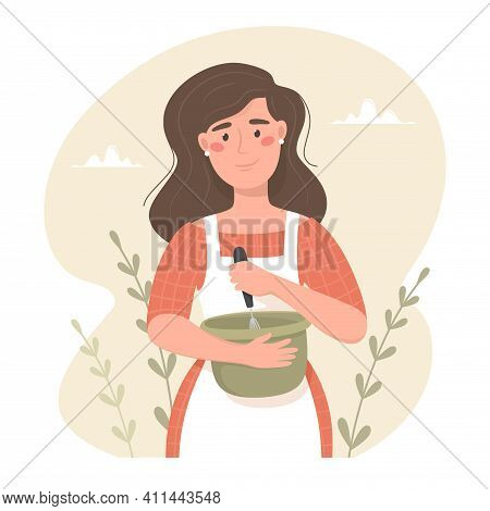 Happy Woman In Apron Knocks Baking Ingredients In A Bowl. . Hand Drawn Vector Illustration. Cozy Moo