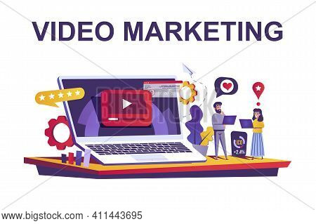 Video Marketing Web Concept In Flat Style. People Create And Posting Video Content, Promote, Seo Opt