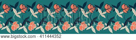 Rows Of Roses Decorative Vector Border. Horizonatal Embellishment For Cards, Posters And Fabrics. Ca