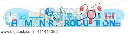 Human Reproduction Concept Vector Header. Reproductive Concept Vector. Medical Healthcare Genetic Sc
