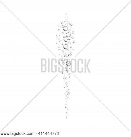 Streaming Oxygen Bubbles. Carbon Dioxide Effect In Fizzy Drinks Like Sparkling Water, Soda, Lemonade