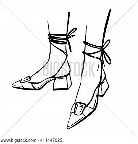 Slender Female Legs In Sandals. Fashion Illustration. Hand-drawn Vector Illustration