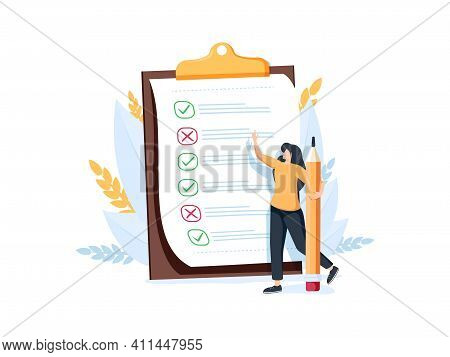 Woman With Pencil Marking Completed Tasks On To-do List. Concept Of Time Management, Work Planning M