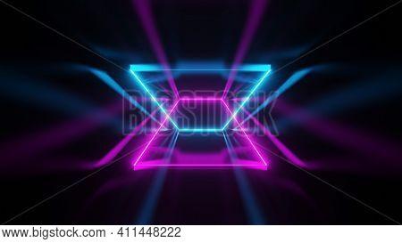 Sci Fi Modern, Luxurious, Futuristic, Neon, Pink-blue Diagonal Fluorescent Laser, Neon Tube Line Wit