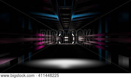 Black Dark Space Scifi Tunnel With Red Blue Glow Lights Background 3d Illustration Wallpaper