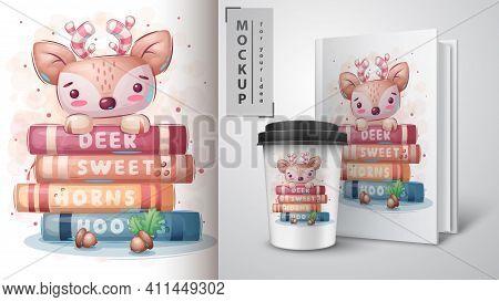 Deer Reads Books Poster And Merchandising. Vector Eps 10