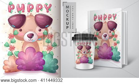 Dog In Bush Poster And Merchandising. Vector Eps 10