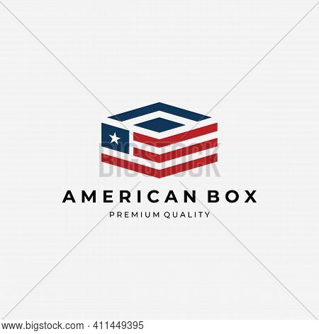 Logistic Of American Country Logo Vector, Box Of America Illustration Design, Shipping Concept By Am