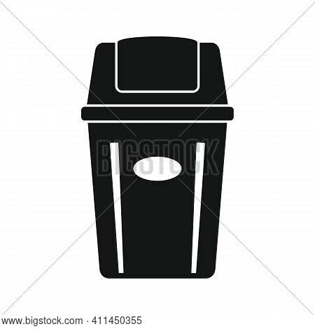 Garbage Bucket Black Simple Icon. Vector Garbage Bucket Black Simple Icon   Isolated On White Backgr