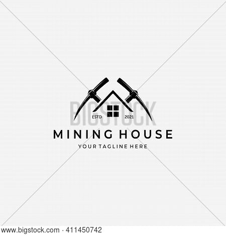 Mining House With Pickaxe Logo Vector Design Illustration Vintage, Gold Mine House, Digger Home Conc