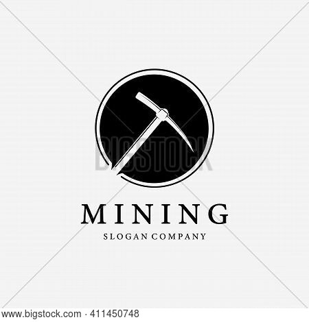 Simple Logo Mining With Pickaxe Vector Design Illustration Vintage, Digger Concept, Minimalist Conce
