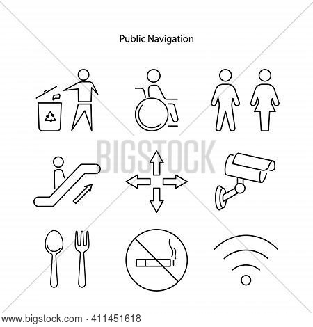 Public Navigation Signs Line Icons Set. Linear Style Symbols Collection, Outline Signs Pack. Vector