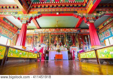 Rinchenpong, Sikkim, India - 17th October 2016 : Religious Statues Of Buddhism Reflecting On Wooden