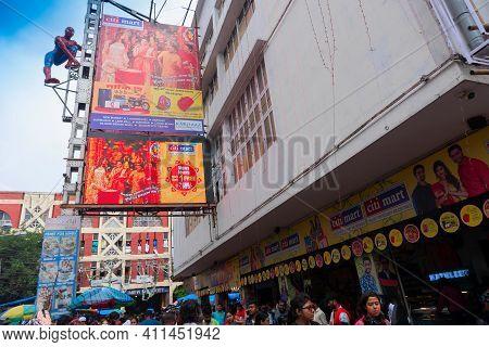 Kolkata, West Bengal, India - 10th September 2019 : Movie Goers Outside Lighthouse Cinema Hall, One