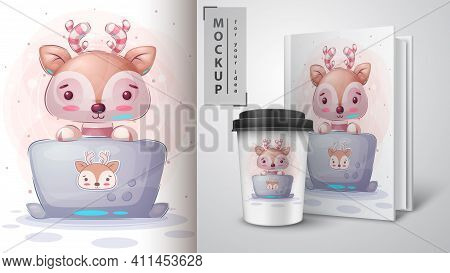 Deer Works At The Notebook Poster And Merchandising. Vector Eps 10