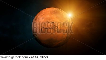 Solar System - Mars. Planet near Sun. Mars is a terrestrial planet with a thin atmosphere, having craters, volcanoes, valleys, deserts. Elements of this image furnished by NASA