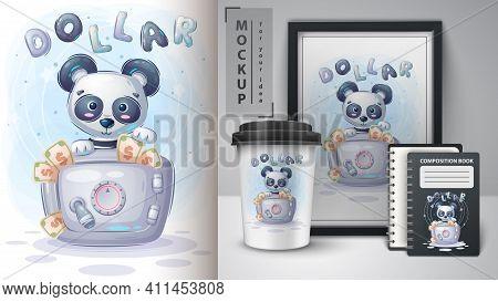 Panda Is Saving Money Poster And Merchandising. Vector Eps 10