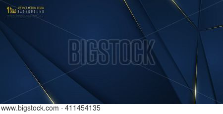 Abstract Wide Gradient Blue Luxury Design Of Overlap Template With Gold Line Background. Overlapping