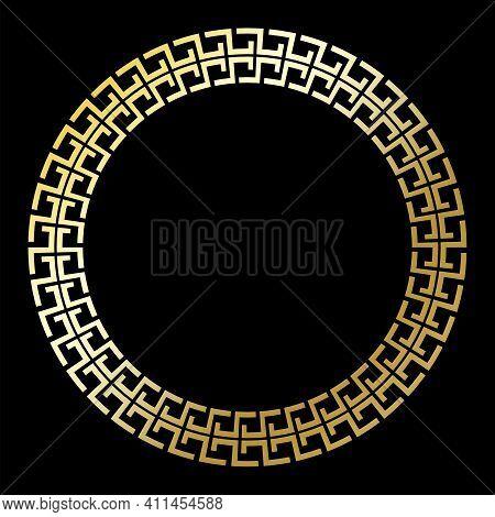 Golden Circle Greek Ornament On Black Background. Retro Islamic Illustration. Decorative Element. St